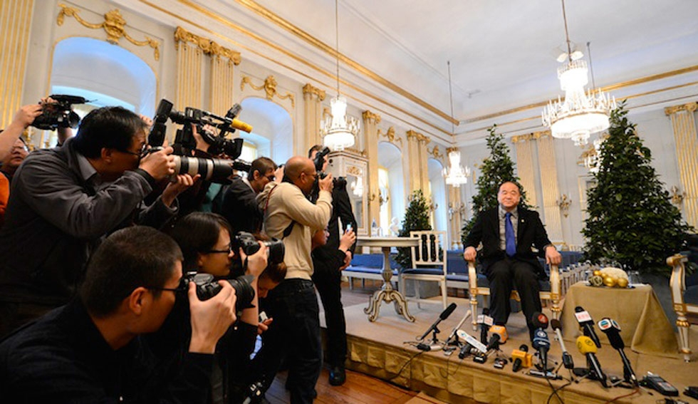 Shown here in Stockholm on December 6, 2012, writer Mo Yan became the first Chinese citizen to win the Nobel Prize for Literature. (Jonathan Nackstrand/AFP/Getty Images)