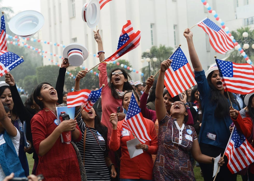 Indian university students in Delhi celebrated as U.S. President Barack Obama won his second term in office on November 7, 2012. (Roberto Schmidt/AFP/Getty Images)