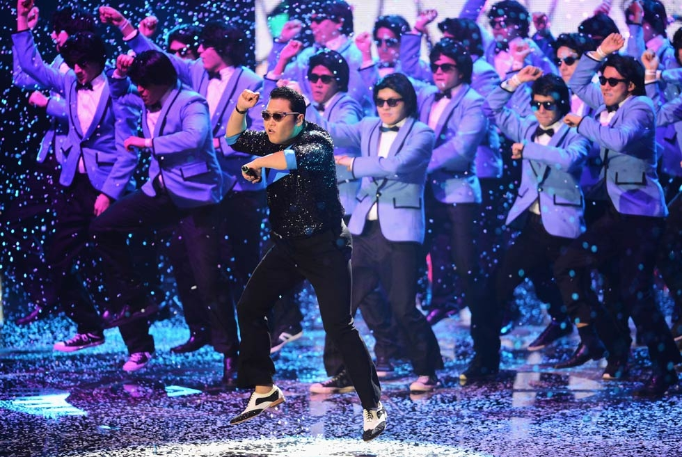 "South Korean musician Psy released a video of his song ""Gangnam Style"" in July 2012 which gained immediate worldwide popularity. Psy performed his famous galloping dance moves in Frankfurt am Main, Germany, on November 11, 2012. (Ian Gavan/Getty Images for MTV)"