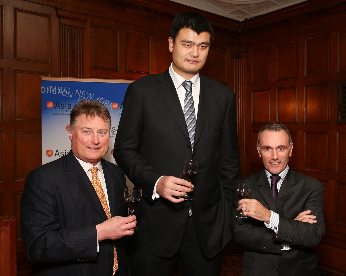 "From left, Tom Hinde, Director of Winemaking Yao Family Wines; Yao Ming, honored as ""Visionary of the Year"" and Jean-Marc Bories, International Sales Director Girard-Perregaux pose during the Asia Society Southern California 2013 Annual Gala held at the Millennium Biltmore Hotel on Tuesday, February 19, 2013 in Los Angeles, Calif. (Photo by Ryan Miller/Capture Imaging)"