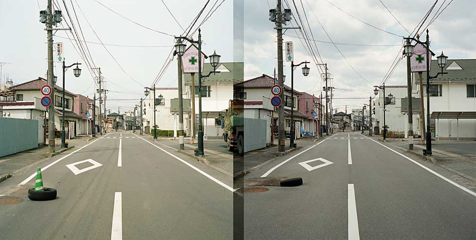 In each of the above slides, an image from Watanabe's first visit in June 2011 appears on the left, next to a photo of the same location in 2012. (Toshiya Watanabe)