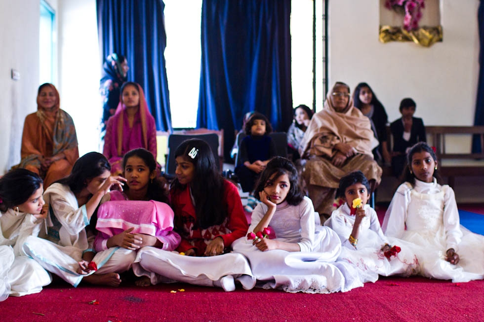 The young girls in attendance wore white dresses for the Church's Christmas celebration. Dhala United Methodist Church, Lahore. (Nushmia Khan)