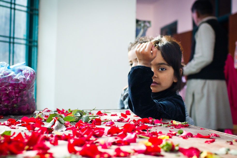 Rose petals were used as decorations for the Christmas celebration. Dhala United Methodist Church, Lahore. (Nushmia Khan)