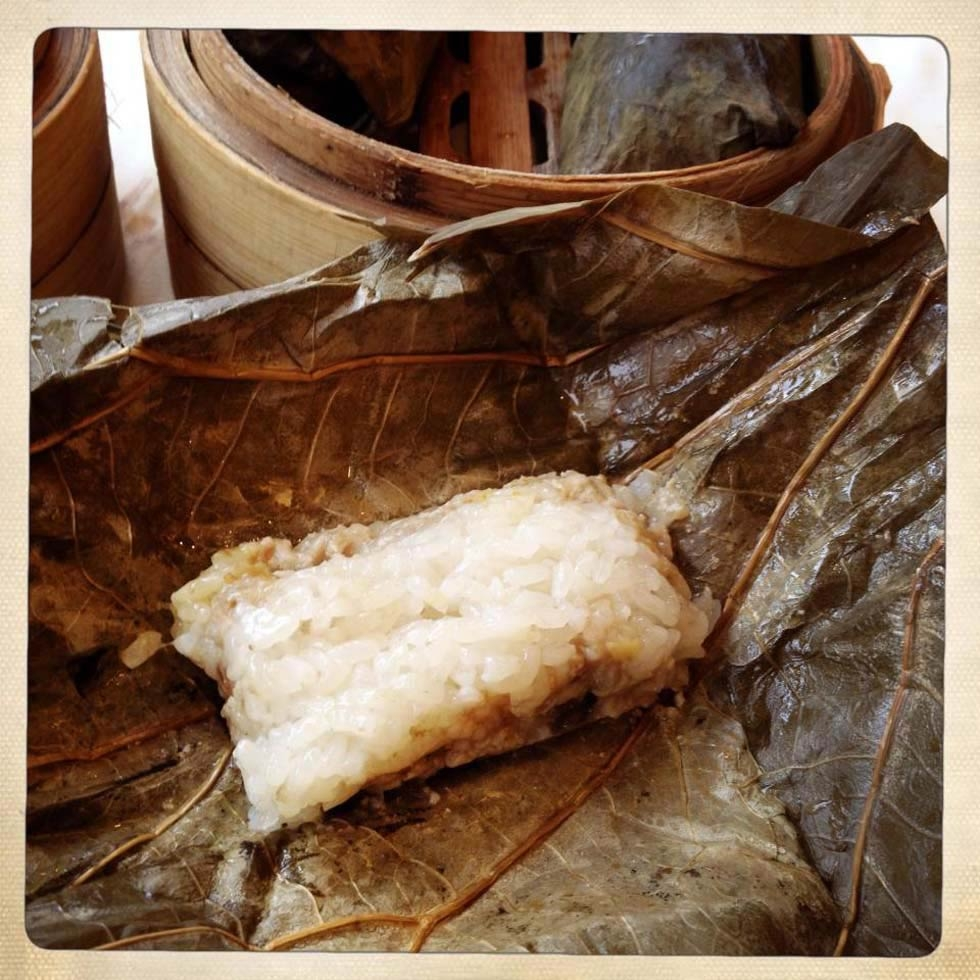 Lotus leaf sticky rice stuffed with meat and beans. (Gigi Nguyen)