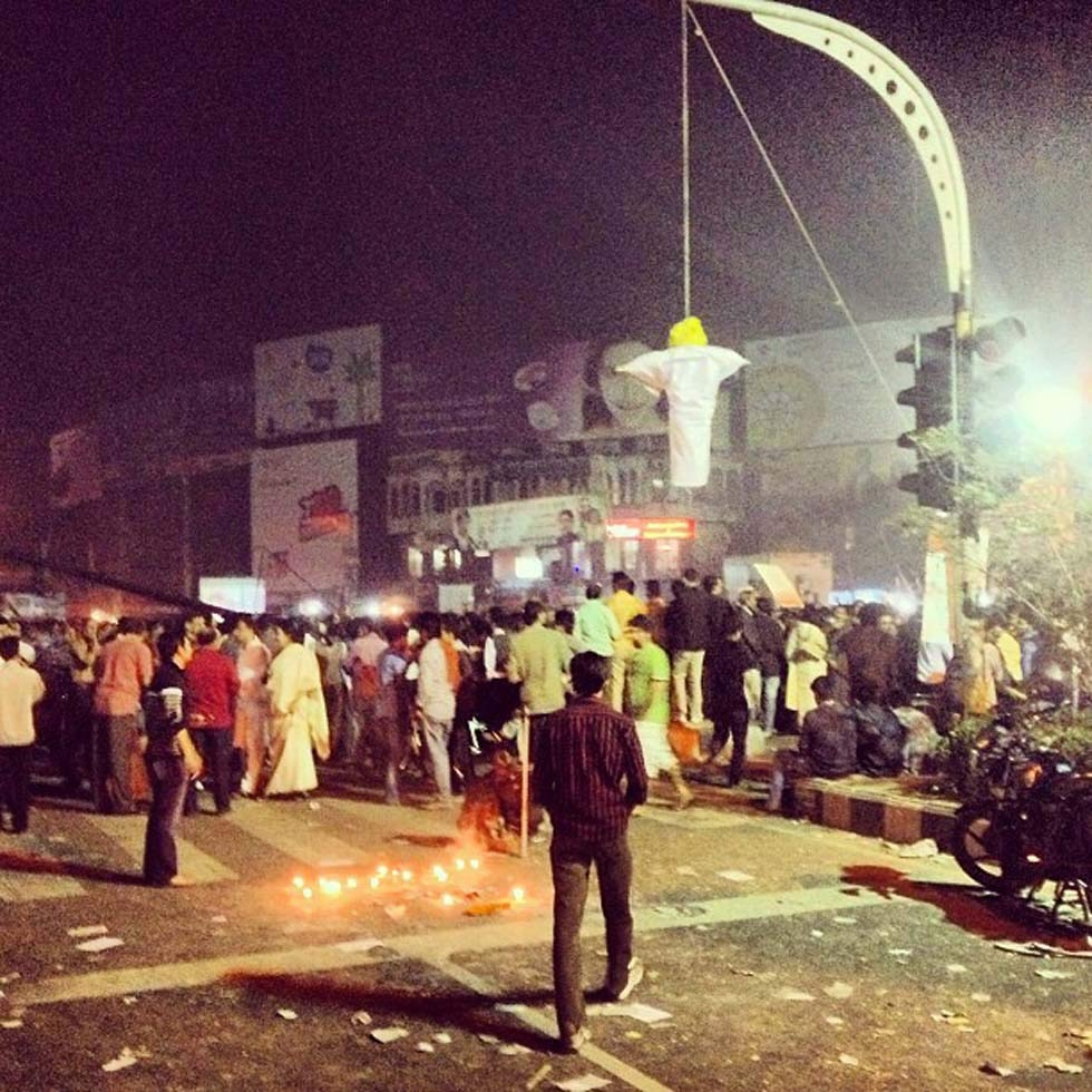 A street lamp becomes a makeshift gallows for an effigy at Shahbag. (Naorose Bin Ali)