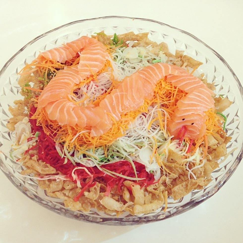 "46. ""I love yee sang!! Assembled another snake. Yee sang. Huat ah."" (sweesan)"