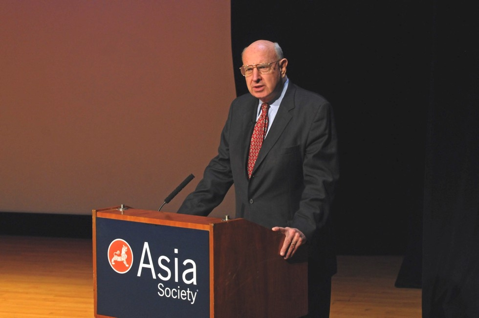Former U.S. Under Secretary of State for Political Affairs Thomas Pickering addresses the crowd at Asia Society New York on Feb. 20, 2013. (Elsa Ruiz/Asia Society)