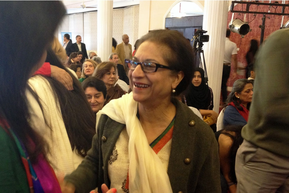 Lawyer and human rights activist Asma Jahangir appeared at a panel on human rights in Pakistan on Saturday, February 16, 2013. (Annie Ali Khan)