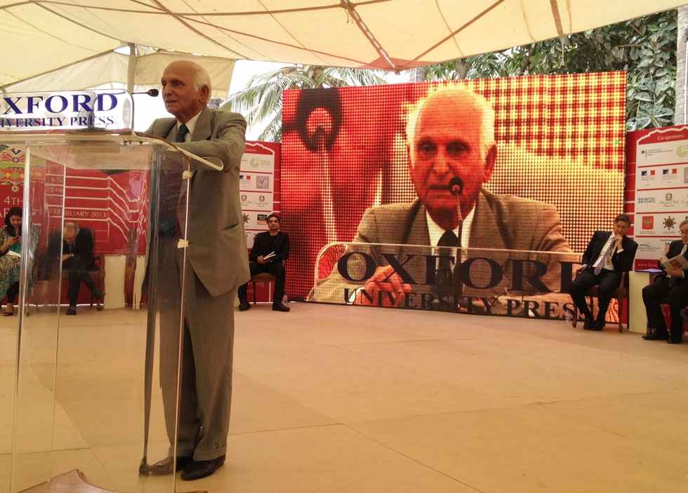 Intizar Husain, widely considered one of the greatest living Urdu-language writers, delivered a keynote speech at the 2013 Karachi Literature Festival. (Annie Ali Khan)