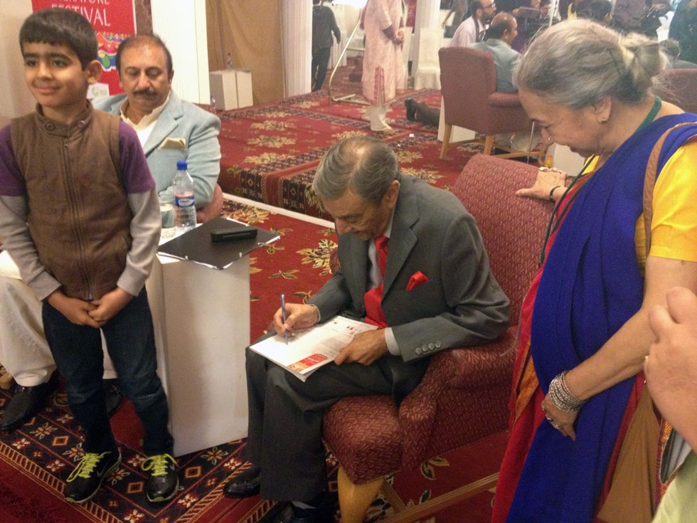 Actor, producer, and television broadcaster Zia Mohyuddin signed autographs at the 2013 Karachi Literature Festival. (Annie Ali Khan)
