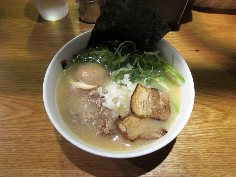 Chicken-based tori paitan broth at Totto Ramen in New York, NY. (Keizo Shimamoto)