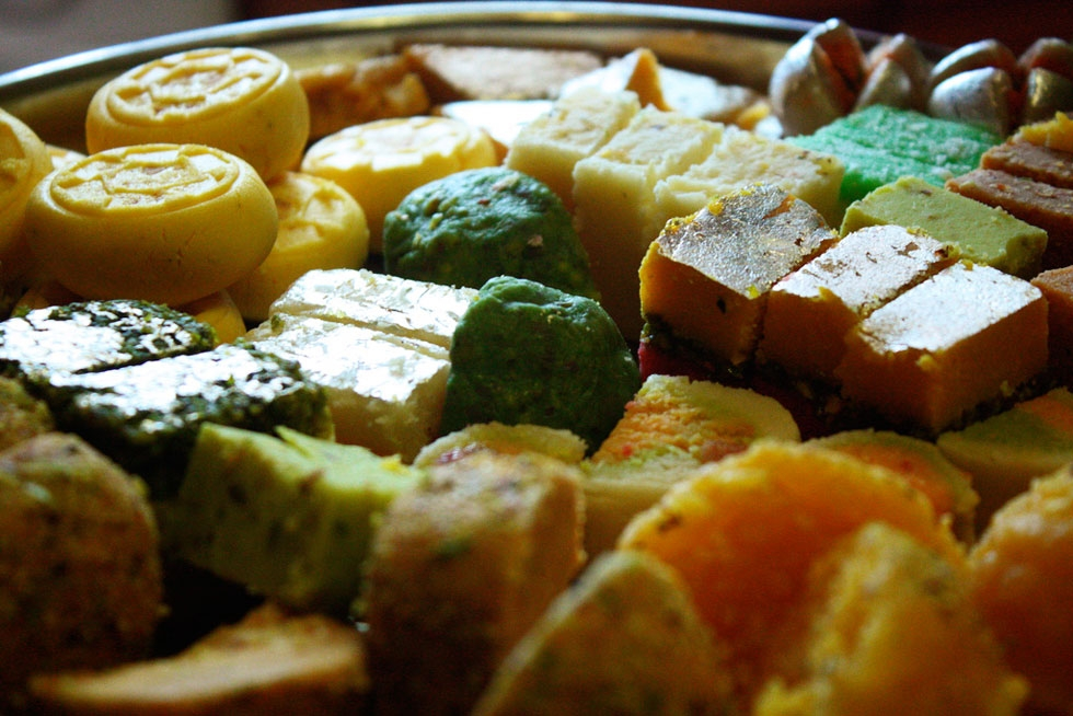 A medley of colored barfi, India's answer to fudge. (robertsharp/Flickr)