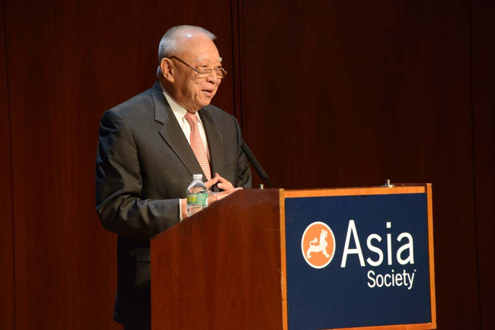 C.H. Tung, Former Chief Executive and President of the Executive Council of Hong Kong, at Asia Society New York on May 21, 2013. (Kenji Takigami)