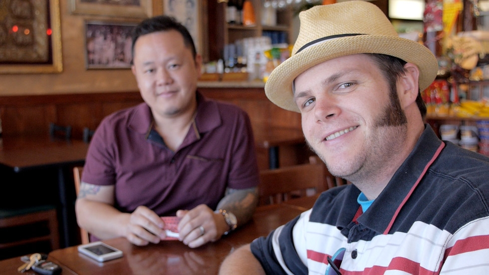 Author of The Sriracha Cookbook, Randy Clemens (R), visits chef Jet Tila, the Culinary Ambassador of Thai Cuisine. Sriracha chili sauce originated in Si Racha, Thailand. (Griffin Hammond)