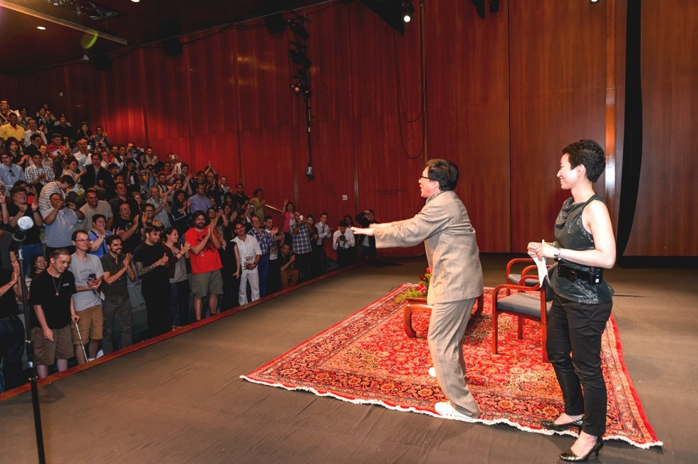 Jackie Chan receives a standing ovation at Asia Society headquarters in New York. (C. Bay Milin/Asia Society)