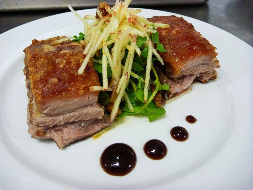 Five-spiced crispy skin pork, Waldorf watercress salad, caramelised spiced walnuts, hoi sin plum relish. (lanceseeto.com)