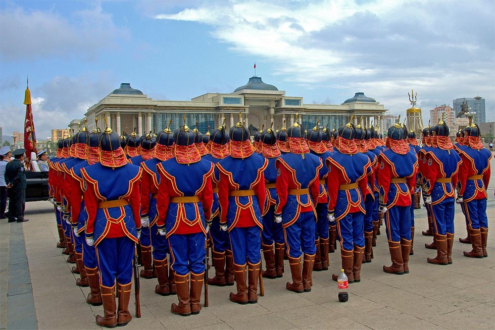 A dress rehearsal occurs in Ulaanbaatar's Sukhbaatar Square ahead of the holiday festivities. (scott.presly/Flickr)