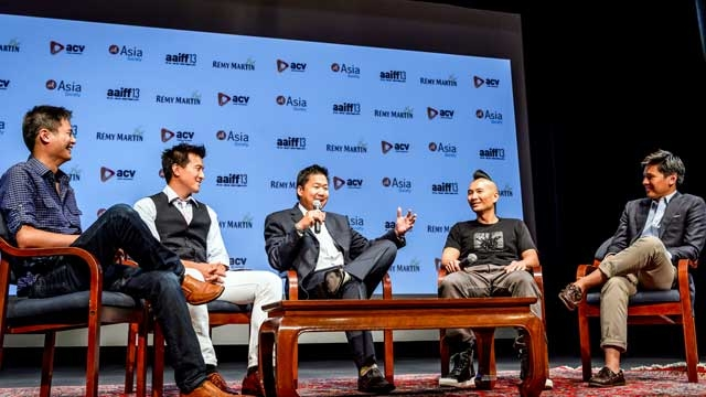 "L to R: ""Linsanity"" producers Allen Lu, Brian Yang, Christoper Chen, director Evan Jackson Leong, and ESPN journalist Pablo Torre at Asia Society New York on July 24, 2013. (C. Bay Milin)"