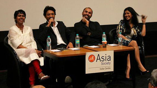 L to R: Nandini Ramnath, Irrfan Khan, Ritesh Batra and Nimrat Kaur in Mumbai on September 15, 2013. (Asia Society India Centre)