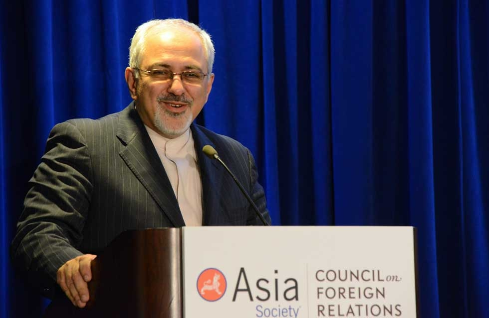 Iranian Foreign Minister Javad Zarif, who met with U.S. Secretary of State John Kerry earlier in the day, addressed the assembly after the Q & A session. (Kenji Takigami/Asia Society)