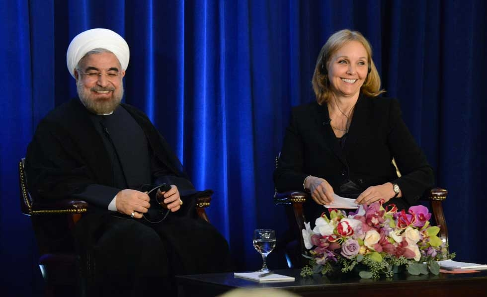 Iranian President Hassan Rouhani and Asia Society President Josette Sheeran in New York City on September 26, 2013. (Kenji Takigami/Asia Society)