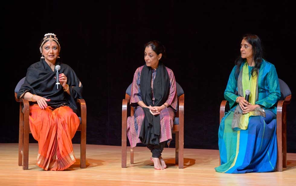 L to R: Madhavi Mudgal, Leela Samson and choreographer Rajika Puri, who moderated their talk after the performances. (Elsa Ruiz/Asia Society)