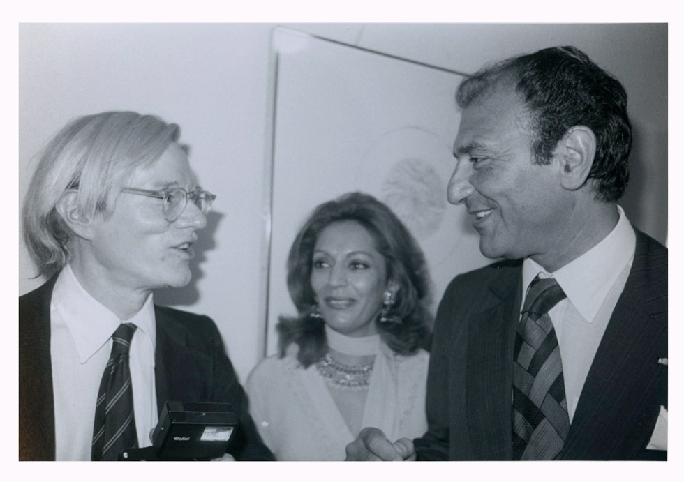 Andy Warhol (L), Homa Zand (C) and Iranian Ambassador to the United States Ardeshir Zahedi in Washington, D.C., in 1977. (Bob Colacello)