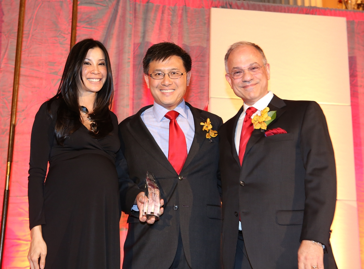 "From left, host journalist Lisa Ling; John Chiang, Controller State of California, honored as ""Asian American Leader of the Year"" and Mike Margolis, Founding Partner, Margolis & Tisman pose during the Asia Society Southern California 2013 Annual Gala held at the Millennium Biltmore Hotel on Tuesday, February 19, 2013 in Los Angeles, Calif. (Photo by Ryan Miller/Capture Imaging)"