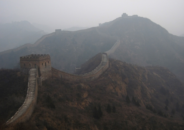 The Jinshanling Great Walls shrouded in smog in Chengde, Hebei Province of China on February 24, 2014. (ChinaFotoPress/Getty Images)