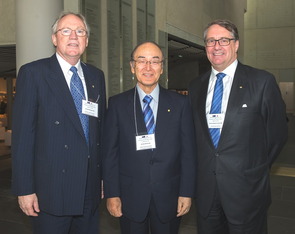 Sir Rod Eddington AO, President, Australia Japan Business Co-operation, Committee; Dr Akio Mimura AC, Chairman, Japan Australia Business Co-operation Committee with The Hon Warwick Smith AM, Chairman, Asia Society Australia. (Irene Dowdy)
