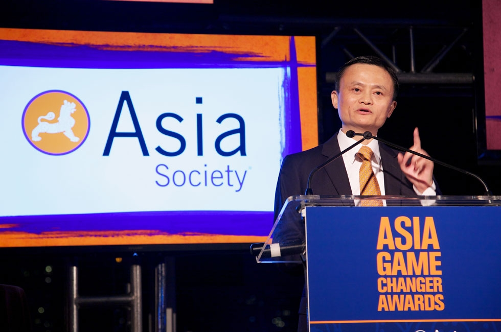 Alibaba founder and CEO Jack Ma accepted his Asia Society Asia Game Changer award at the United Nations in New York City on Oct. 16, 2014. (Ann Billingsley/Asia Society)
