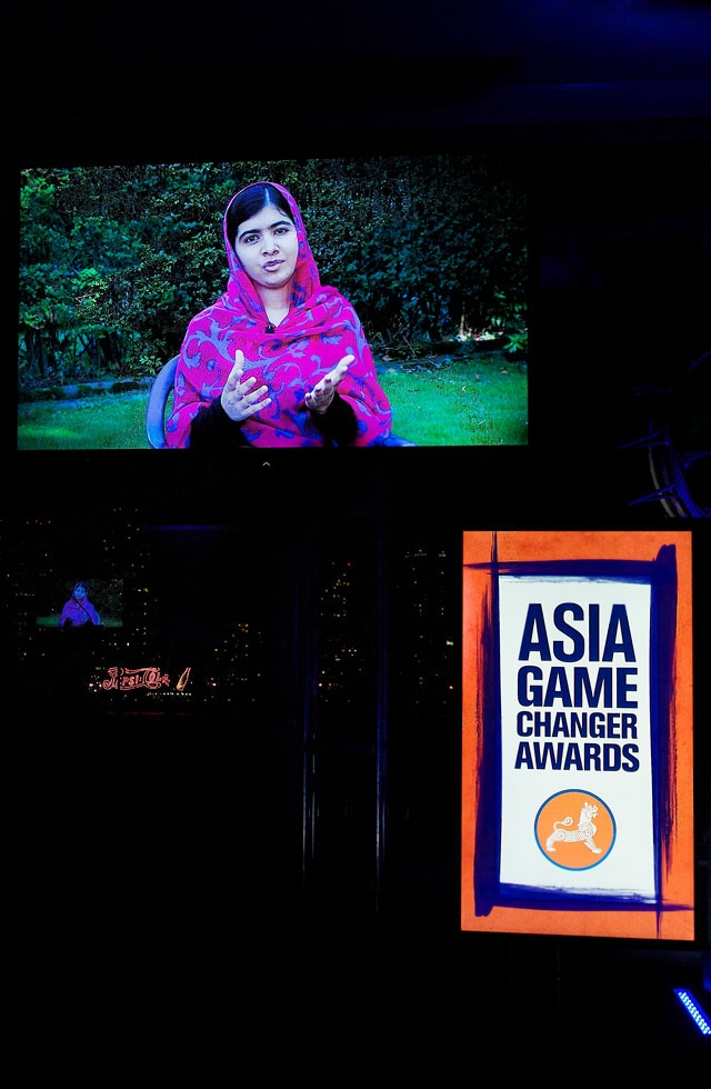 Award winner Malala Yousafzai delivered a video message from her home in England. (Ann Billingsley/Asia Society)