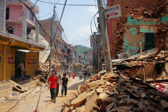 Walking the rubble-strewn streets of Chautara, Sindhupalchok, Nepal, on May 6, 2015. (International Organization for Migration/Flickr)
