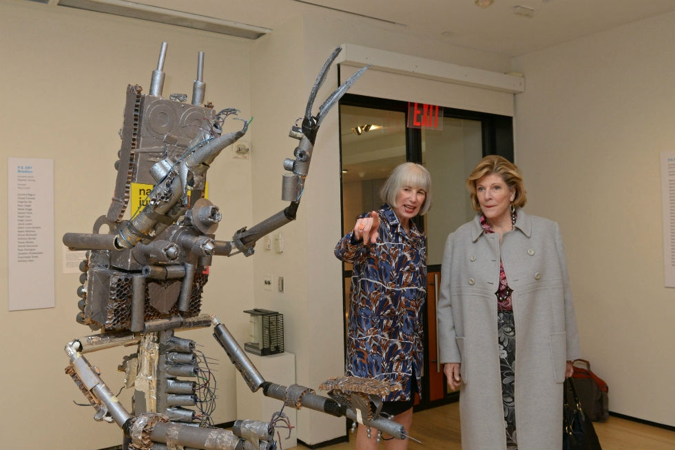 Studio in a School Founder and Chair Agnes Gund (right) visits the Inspired by Nam June Paik exhibition with Nancy Blume, head of arts education at Asia Society Museum. (Elsa Ruiz)