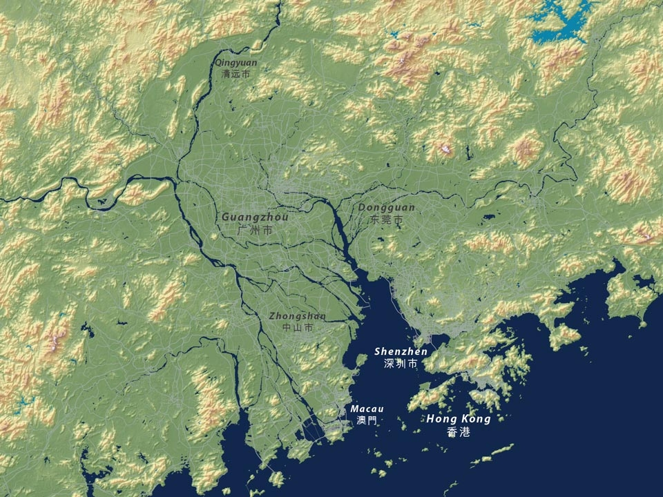 The Pearl River Delta includes the major cities of Hong Kong, Shenzhen, and Guangzhou.