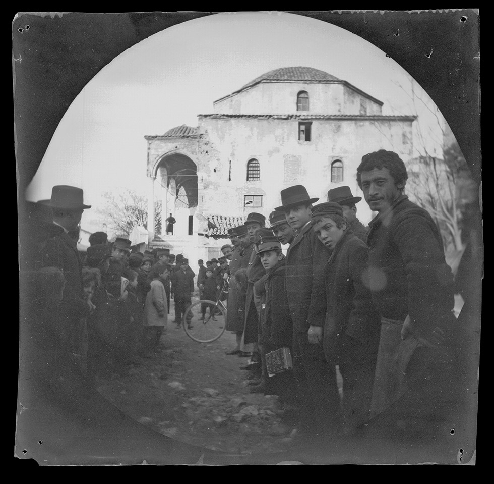 """Another view of the old Turkish Mosque, the crowd opening ranks for me,"" February 24, 1891, Collection of the UCLA Library Special Collections"