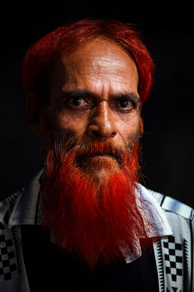 Abdul Kader dyed both his hair and beard with henna that came out in a deep shade of orange. (GMB Akash)