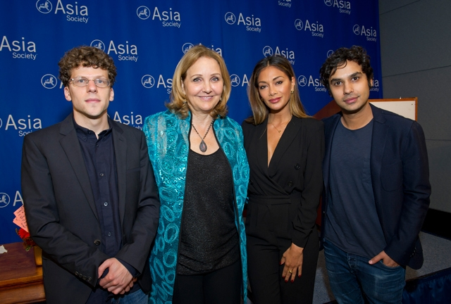 From L to R: Actor Jesse Eisenberg, Asia Society President and CEO Josette Sheeran, actress/singer Nicole Scherzinger, actor Kunal Nayyar. (Elena Olivo/Asia Society)