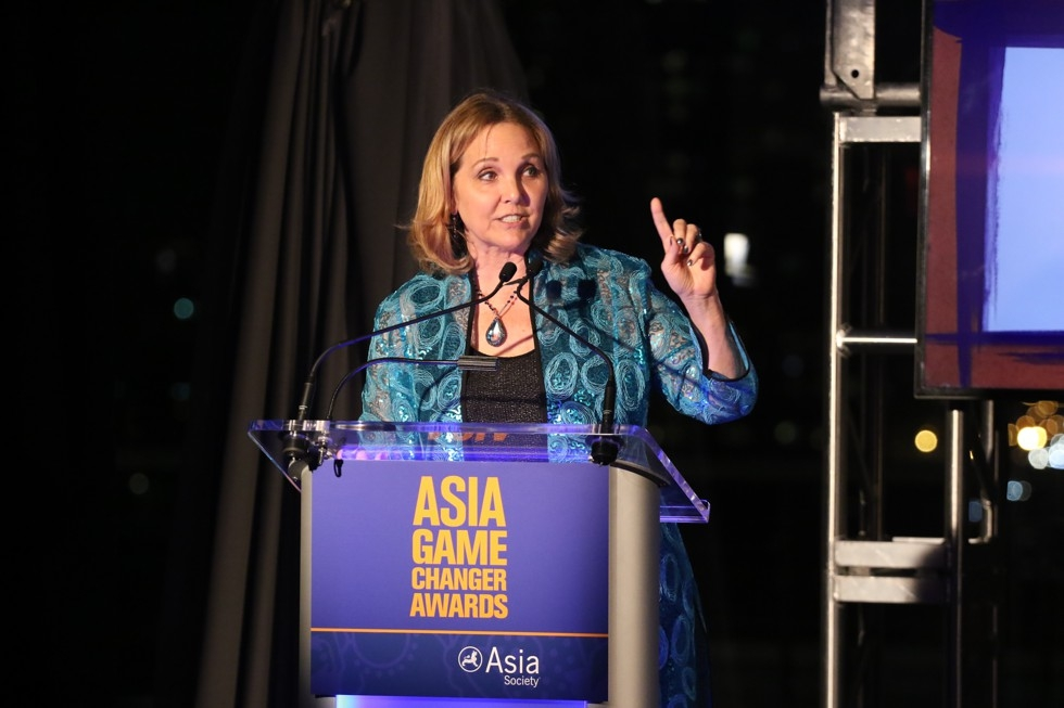 Asia Society President Josette Sheeran gives opening remarks at the 2015 Asia Game Changers award ceremony on October 13. (Ellen Wallop/Asia Society)