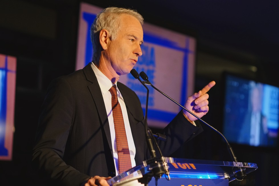 Tennis star John McEnroe introduces the Asia Game Changer of the Year awardee Manny Pacquiao on October 13, 2015. (Jamie Watts/Asia Society)