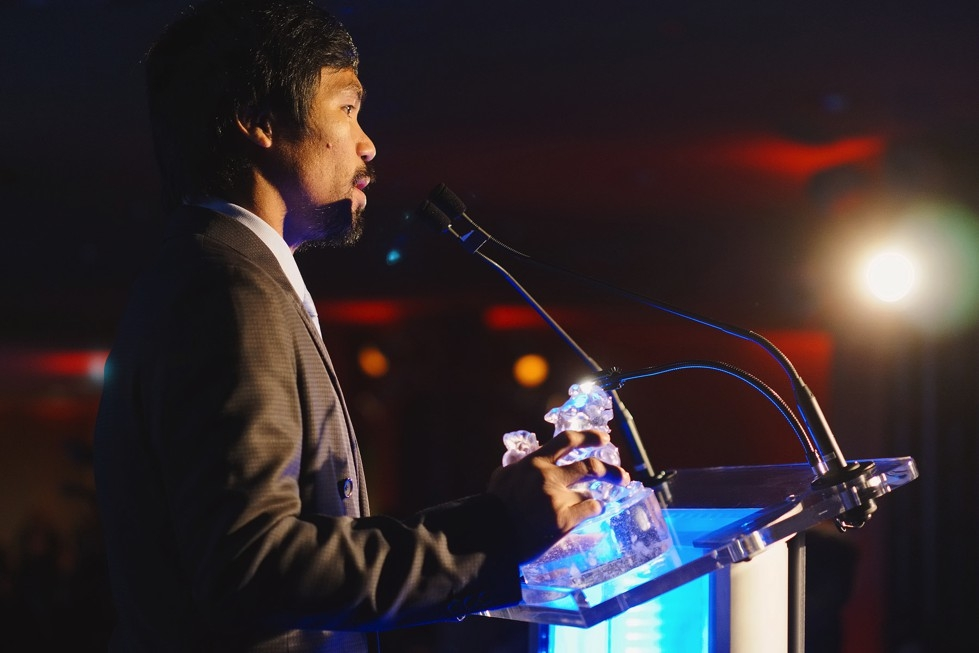 Boxer Manny Pacquiao speaks after being awarded the Asia Game Changer of the Year award on October 13, 2015. (Jamie Watts/Asia Society)