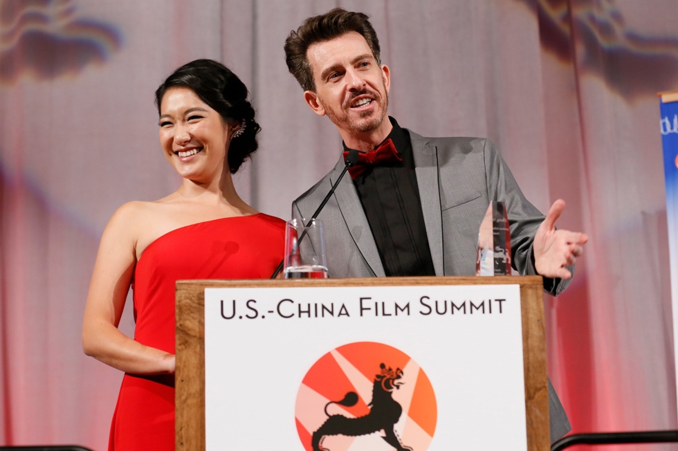 From left, emcees Kara Wang and Jeff Locker speak during the 2015 Asia Society U.S.-China Film Summit and Gala held at the Dorthy Chandler Pavilion on Thursday, November 5, 2015, in Los Angeles, Calif. (Ryan Miller/Capture Imaging)
