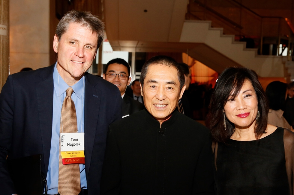 From left, Tom Nagorski, executive vice president, Asia Society, Zhang Yimou, director, and Janet Yang pose during the 2015 Asia Society U.S.-China Film Summit and Gala held at the Dorthy Chandler Pavilion on Thursday, November 5, 2015, in Los Angeles, Calif. (Ryan Miller/Capture Imaging)