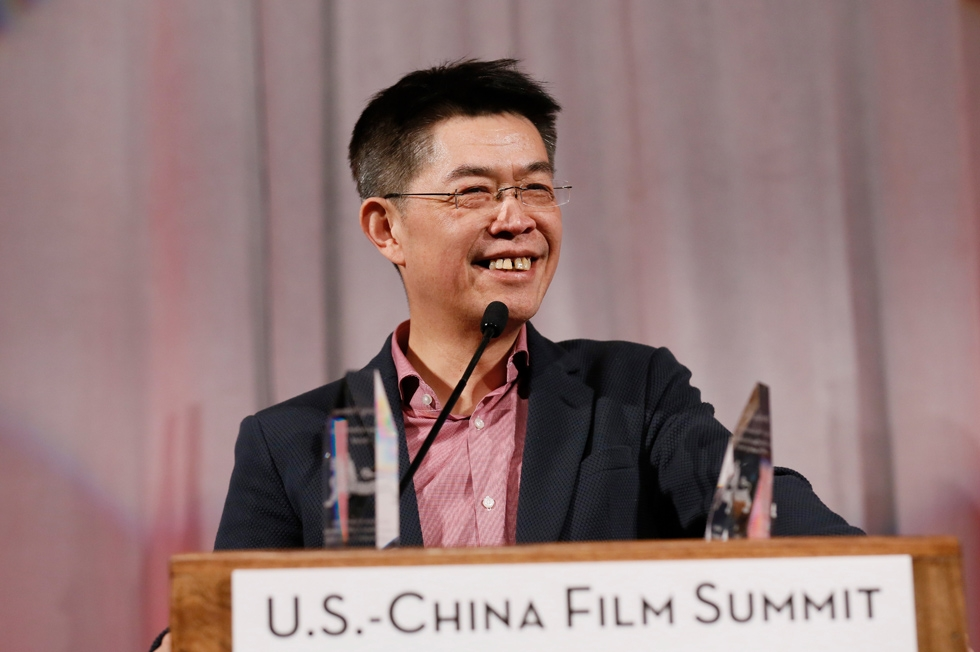 Zhang Zhao, CEO, Le Vision Pictures receives the U.S.-China Film Industry Leadership Award during the 2015 Asia Society U.S.-China Film Summit and Gala held at the Dorthy Chandler Pavilion on Thursday, November 5, 2015, in Los Angeles, Calif. (Ryan Miller/Capture Imaging)