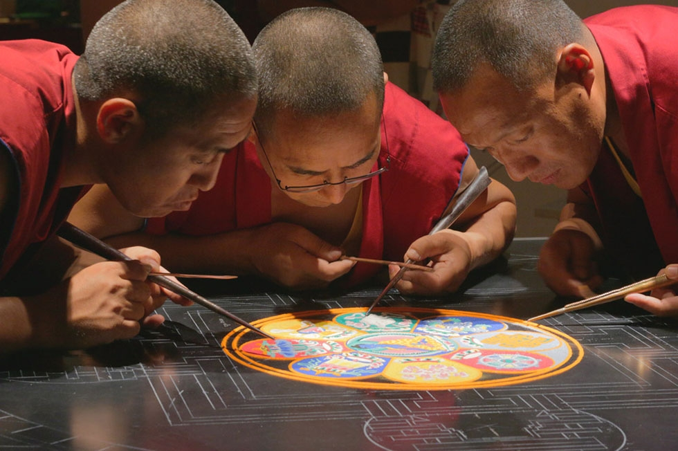 Asia Society's Houston center received nearly 3,300 visitors to watch Tibetan Buddhist monks from Drepung Loseling Monastery in India create an Akshobhya (the Unshakable Victor for Conflict Resolution and Peace) sand mandala in the galleries as a special exhibition in August, 2015. (Joel Luks/Asia Society)