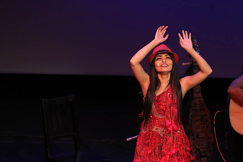 "Renowned vocalist Grace Nono performs sacred songs of indigenous people from southern areas of the Philippines in her performance ""Voicing the Ancestral Sacred"" at Asia Society in New York on October 30, 2015. (Ellen Wallop/Asia Society)"