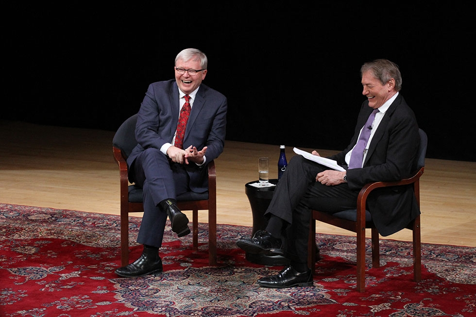 Asia Society Policy Institute President Kevin Rudd is joined by journalist Charlie Rose at Asia Society in New York on February 17, 2015 for a talk on the future of Asia, China, and the world. (Ellen Wallop/Asia Society)