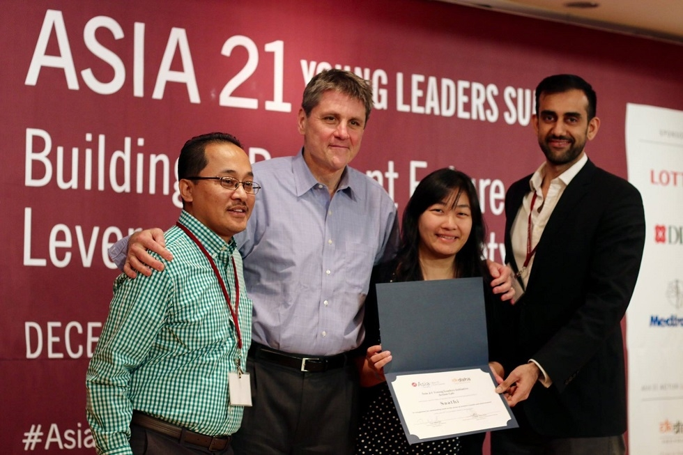 (L-R) Sanjeev Sherchan, Executive Director of Global Initiatives, Asia Society; Tom Nagorski, EVP, Asia Society; Kristin Kagetsu, Co-Founder & CEO, Saathi; Dr. Avinesh Bhar, Asia 21 Young Leader Class of 2016