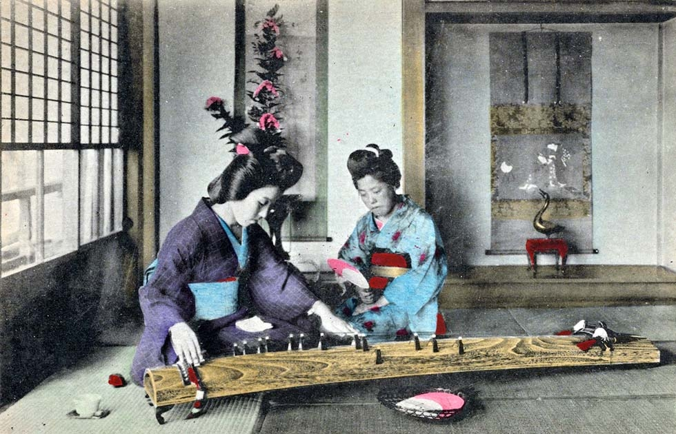 """Women playing the koto."" (New York Public Library)"