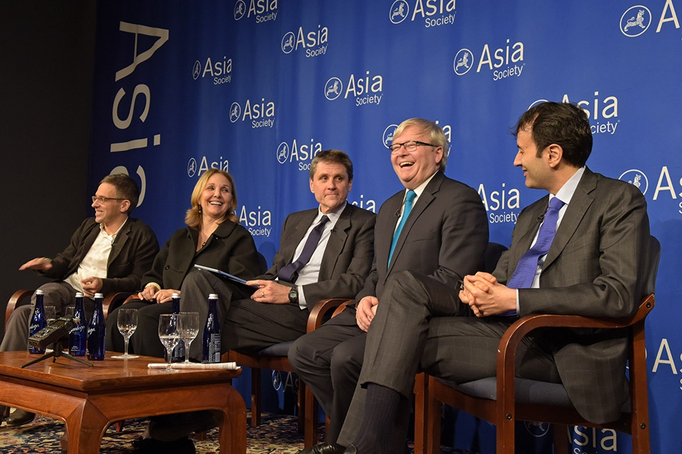 Eurasia Group founder and CEO Ian Bremmer, Asia Society Policy Institute President Kevin Rudd, Asia Society President and CEO Josette Sheeran, and Morgan Stanley Investment's head of Emerging Markets and Global Macro Ruchir Sharma discussed what will shape Asia in 2016. The event, held on December 15, was moderated by the Society's Executive Vice President Tom Nagorski. (Elsa Ruiz/Asia Society)